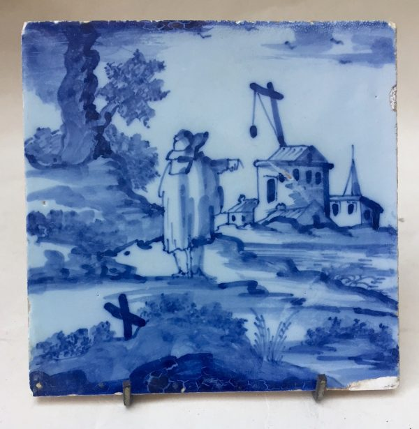 London Delft Blue and White Landscape Tile