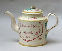 Creamware teapot and cover named Joseph and Mary Asquith