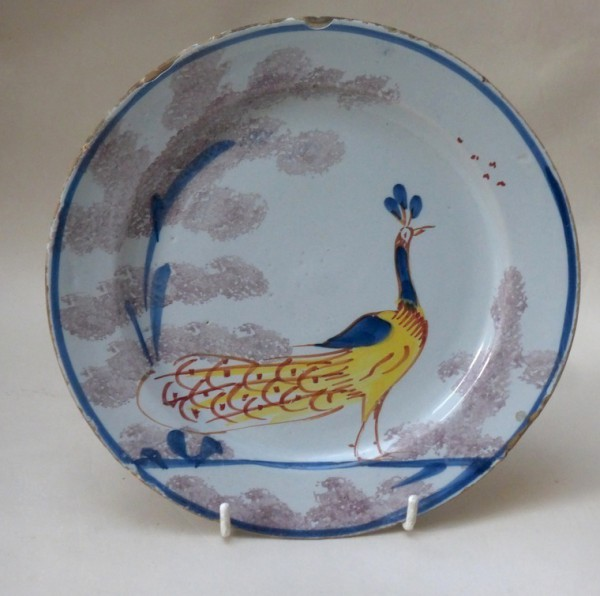 English Delft polychrome farmyard plate