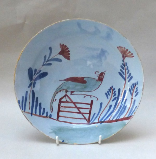 English Delft polychrome plate decorated with a pheasant