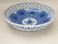 English Delft blue and white pierced bowl