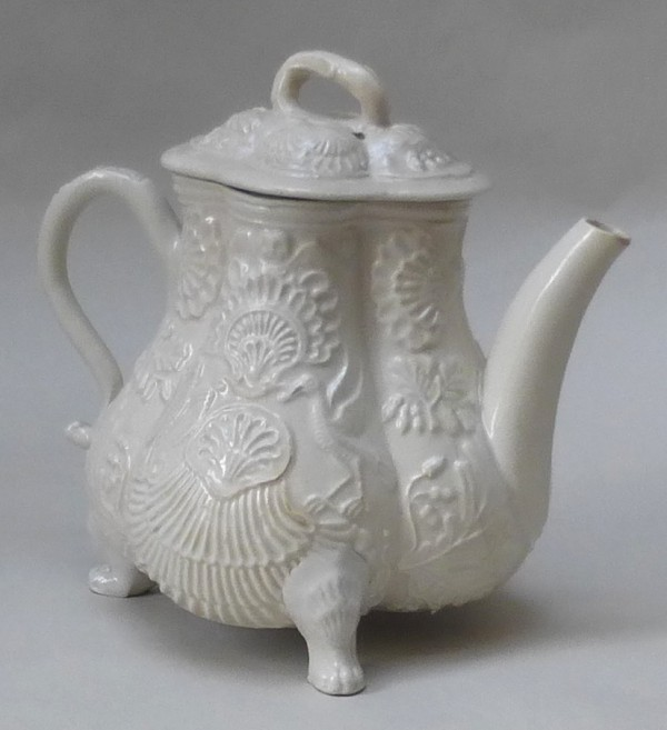 White Salt-glazed stoneware moulded teapot and cover