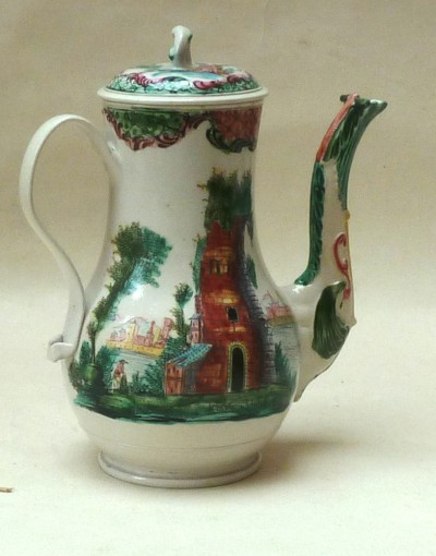 Polychrome Salt-glazed Stoneware coffee pot and cover