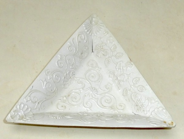 White Salt-glazed Stoneware triangular moulded pickle dish