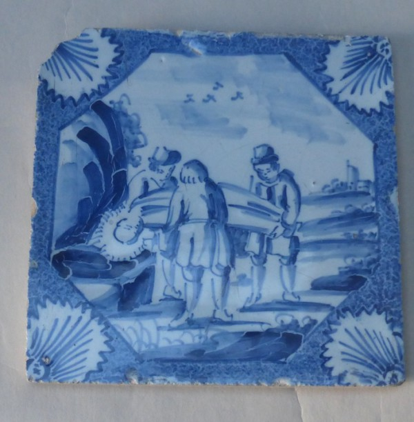 London powder blue and white Biblical tile
