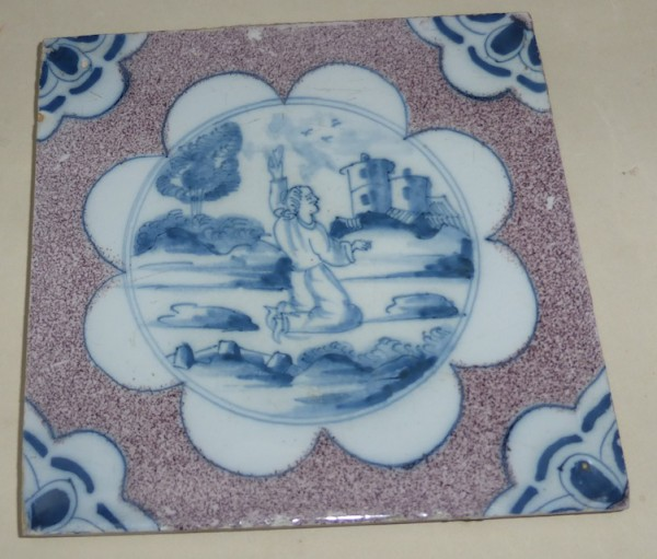 Rare London blue and powder manganese biblical tile