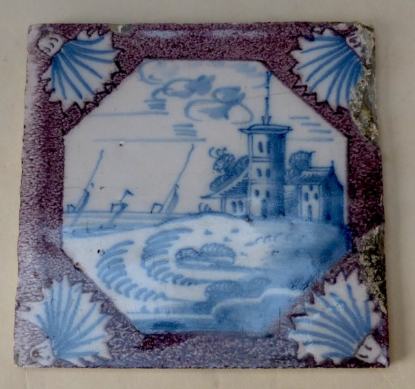 Dutch Delft blue and manganese tile