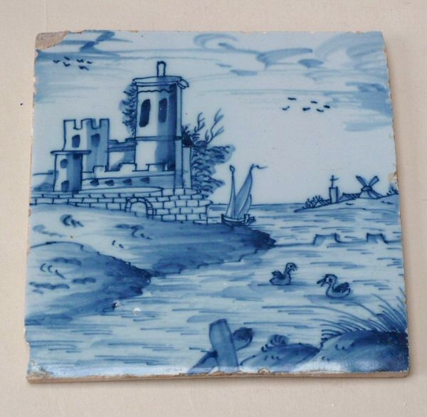 London blue and white tile