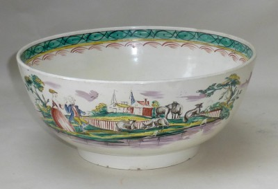 Creamware punch bowl
