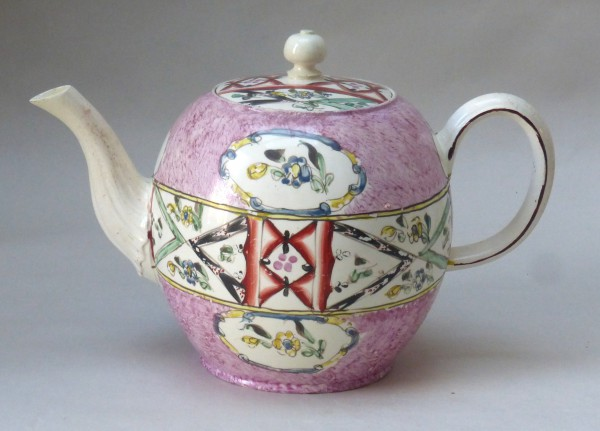 Creamware Teapot With Chintz Decoration
