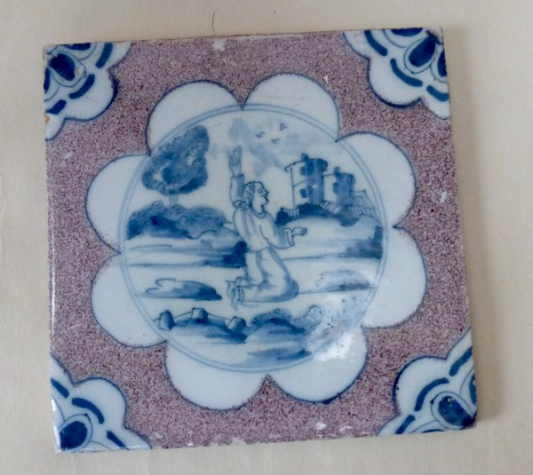 Rare London Delftware Biblical Tile