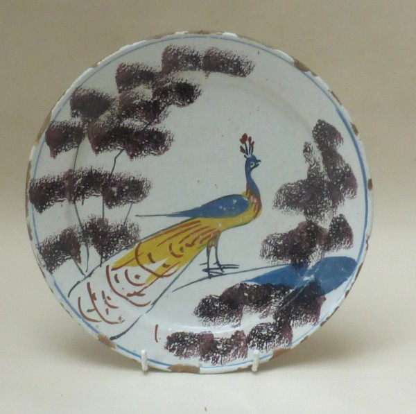 English Delftware farmyard Peacock plate