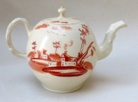 Creamware Teapot and cover with iron red decoration
