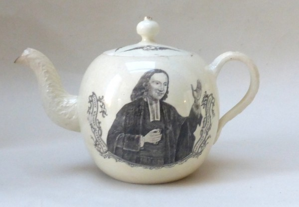 Creamware John Wesley Teapot and cover