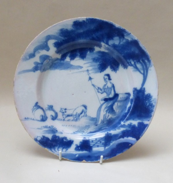 English Delftware Shepherdess Plate