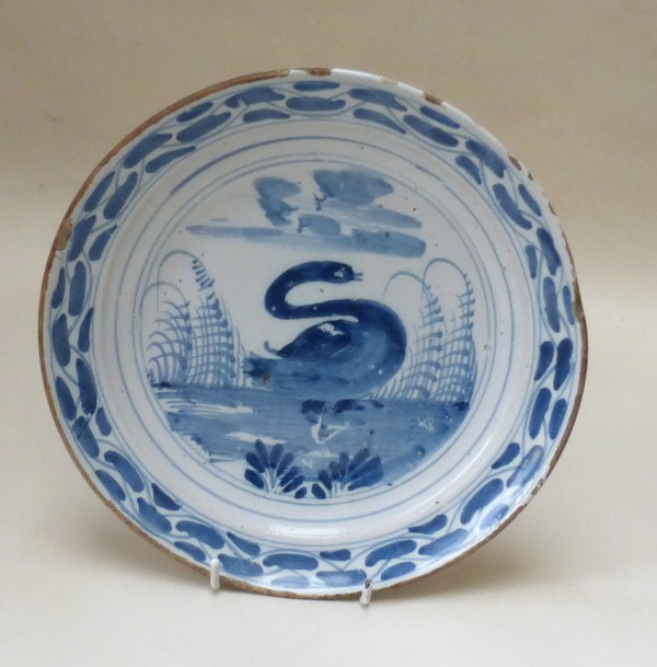 English Delftware Swan Plate