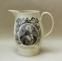 Creamware Commemorative Jug Earl St Vincent and Lord Nelson