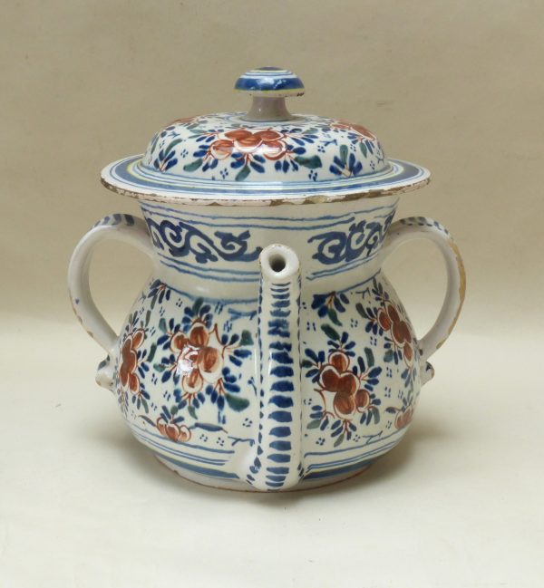London Tin Glazed Earthenware Posset Pot and Cover