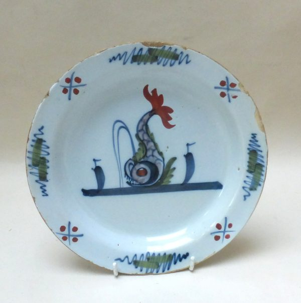 English Delftware Dolphin Plate