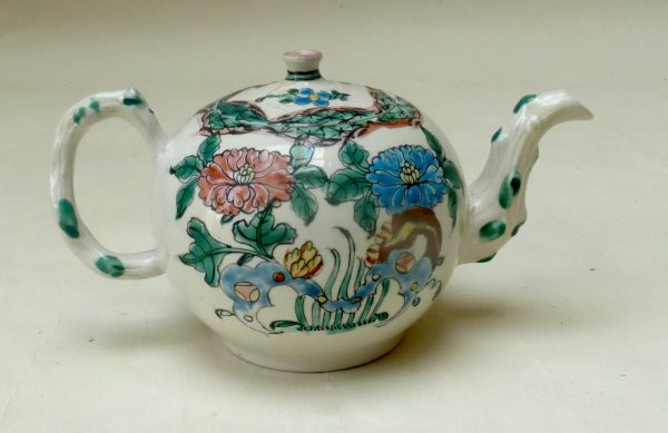 Polychrome Salt-glazed Stoneware Teapot and Cove