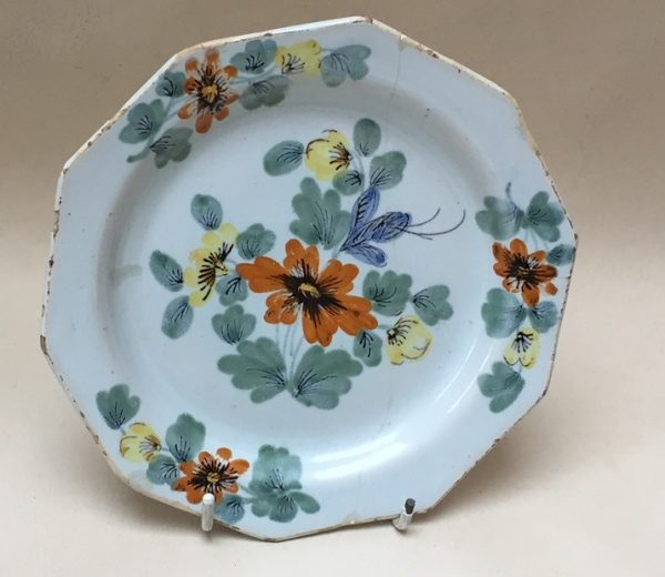 Small Irish ten sided Delftware Plate