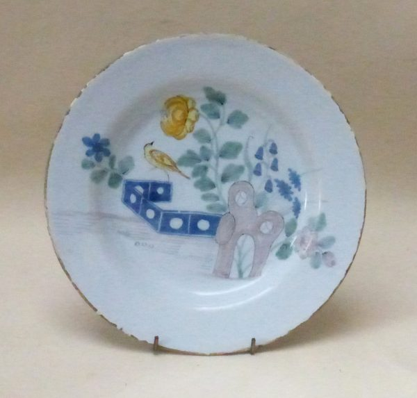 English Delftware Fazackerly Plate decorated with a Bird