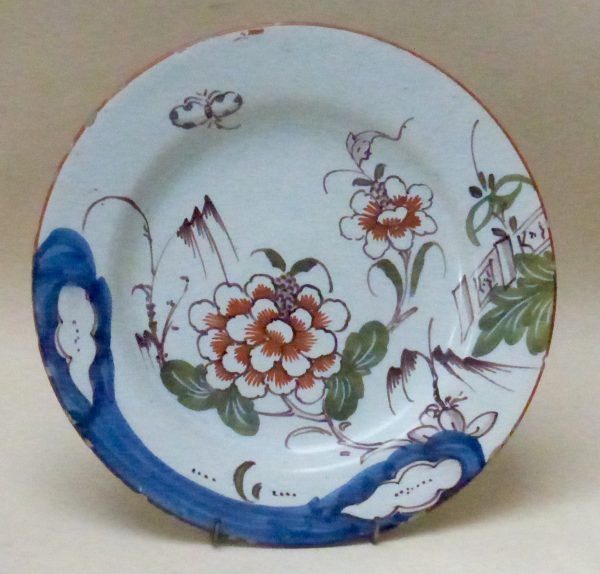 English Delftware Polychrome Plate with Large Flower