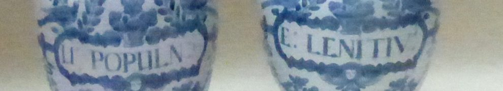 Pair of blue and white Delftware Dry Drug Jars