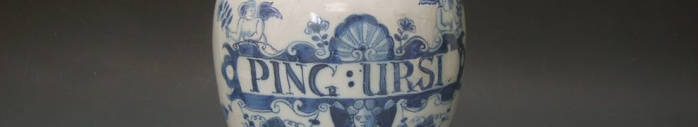 English Delftware Dry Drug Jar with Rare Insciption