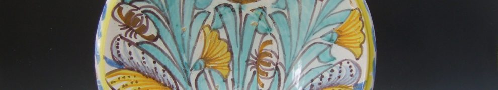 English Delftware Blue Dash Tulip Charger