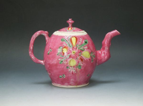 Polychrome Salt-glazed Teapot and Cover on a Cerise groun