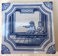Dutch Delftware Blue and White Biblical Tile