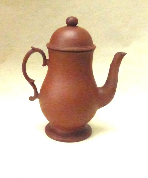 Red Stoneware Coffee Pot and Cover