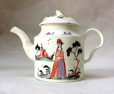 Creamware Teapot and cover possibly Greatbatch