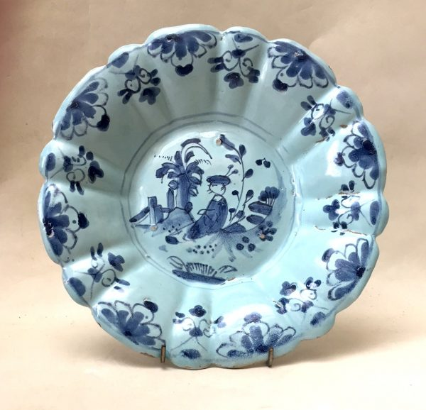 English Delftware Moulded Plate