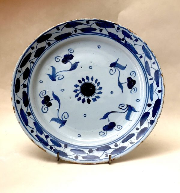 English Delftware Plate with Loop and Dash border