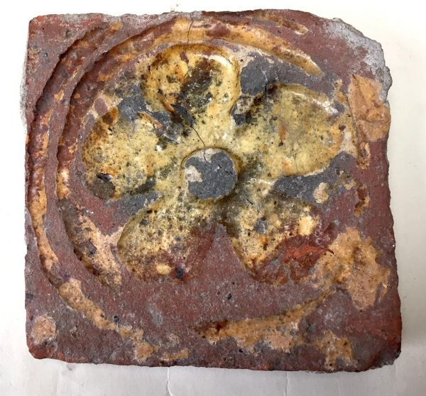14th Century Floor tile decoratedwith 5 Petalled Rosette