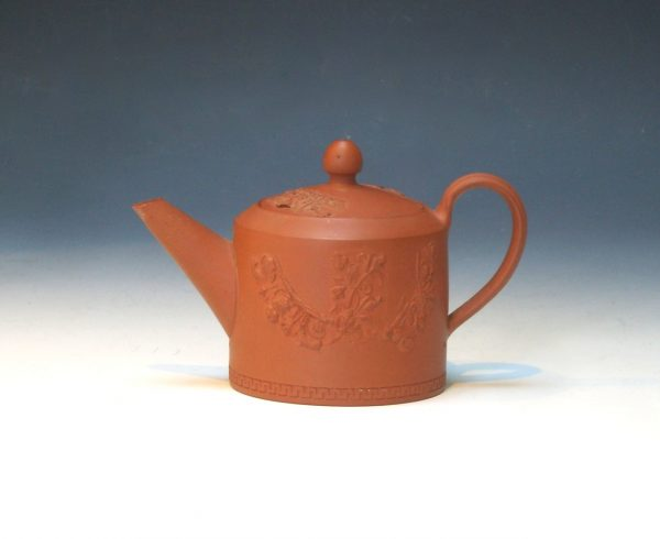 Small Red Stoneware Teapot and Cover
