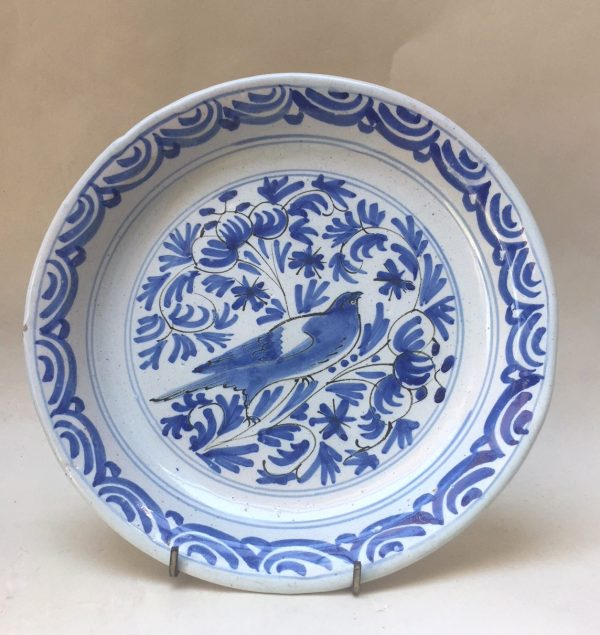 English Delftware Plate Decorated with a Bird