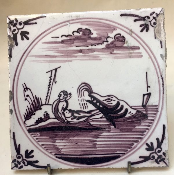 Dutch Delft Biblical Manganese Tile