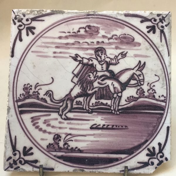 Dutch Delft Manganese Biblical Tile