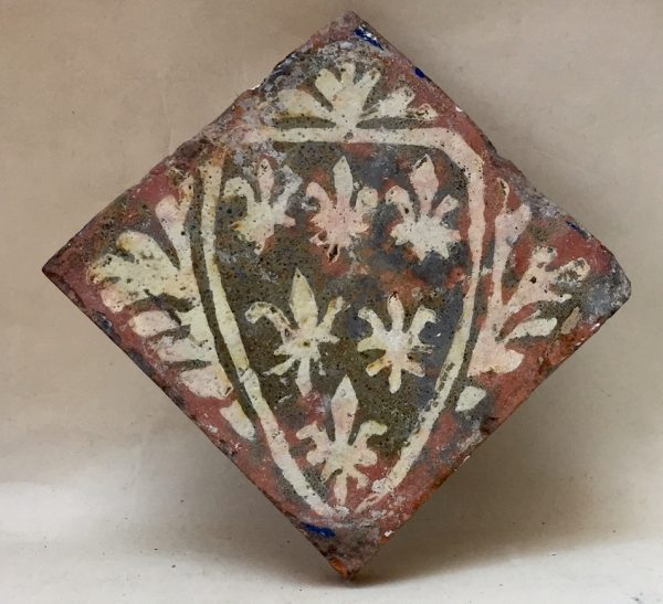 13th Century Floor Tile with Fleur de Lis Shield