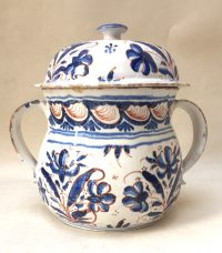 English Delftware blue and Red Posset Pot and Cover