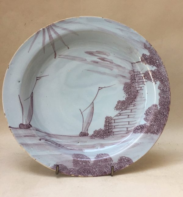 Manganese Delftware Plate Decorated With A Ship