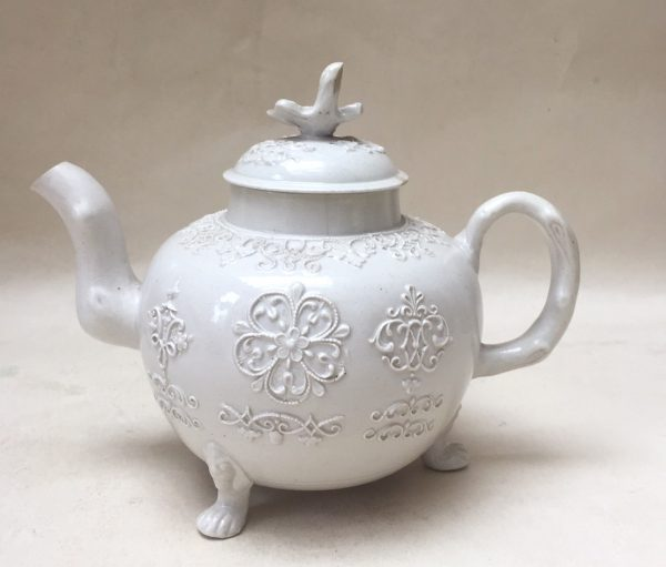 White Salt-Glazed Stoneware Teapot with crabstock handle