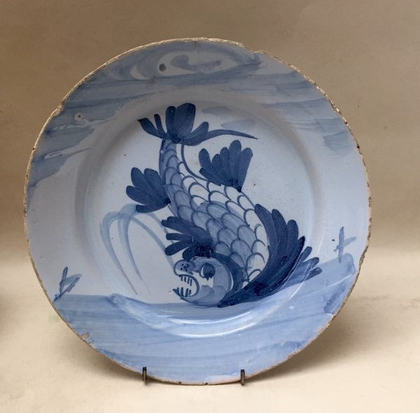 English Delftware Blue and White Dolphin Plate