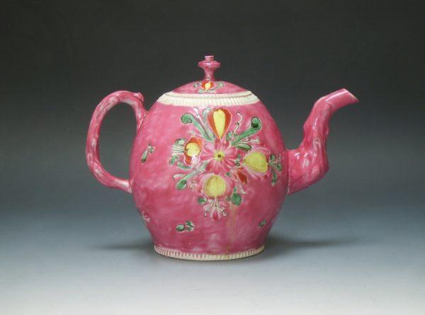 Polychrome Salt-glazed Teapot and Cover on a Cerise groun
