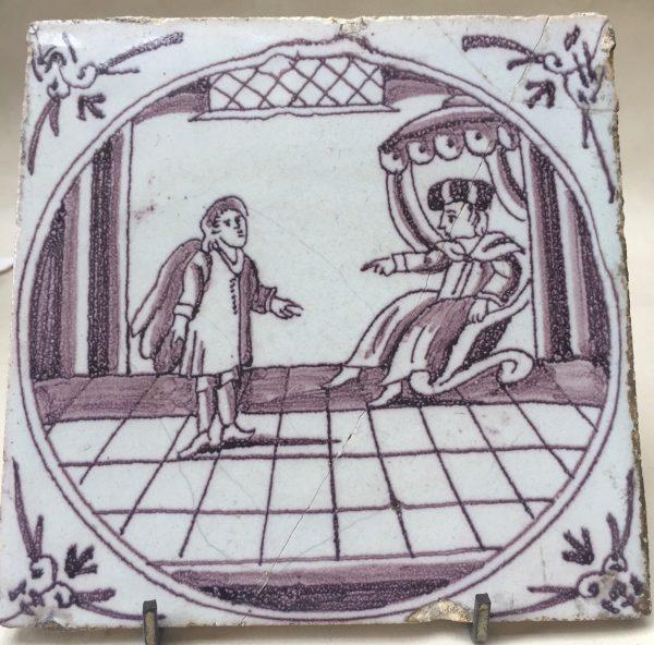 Dutch Delft Biblical Manganese Tile