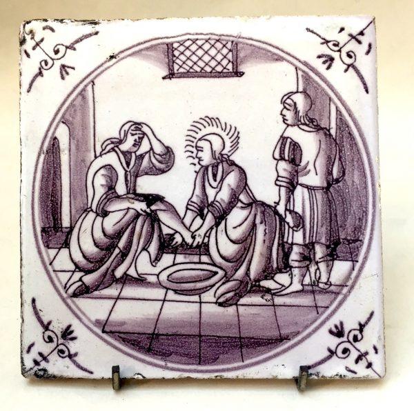 Dutch Delft Manganese Biblical Tile